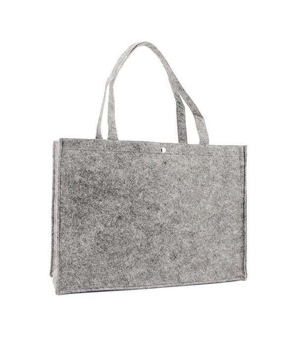 Handgemaakte Vilten Tas : Bestel uw grote vilten tas met drukknoop zwart of grijs